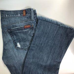 7FAM Eyelash Cuff Boot Cut Jeans w Light Distress